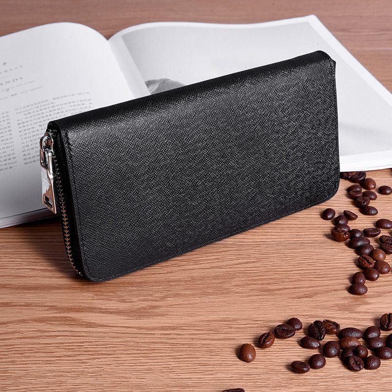 Echtes Leder Männer Brieftasche Luxus Marke Brieftaschen Lange Reißverschluss Geldbörsen Business Männlichen Kupplung Geldbörse Kartenhalter Brieftasche Schwarz