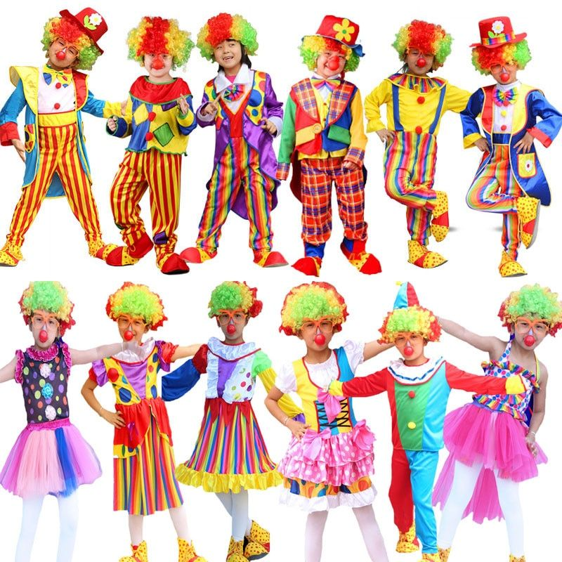 Umorden Children's Day Purim Halloween Circus Clown Costumes Boys Kids Funny Clown Costume Fantasia Infantil Cosplay for Girl