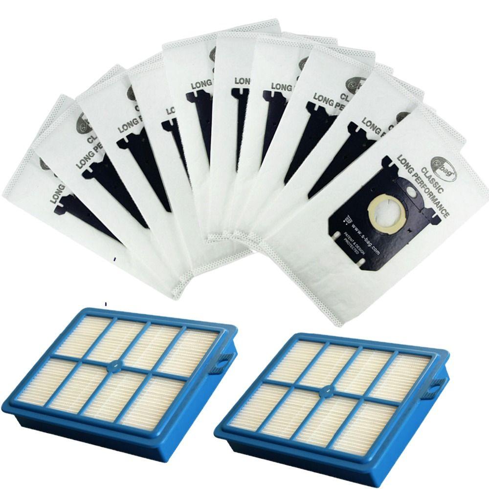 2 pcs remplacement filtre Hepa H12 & 10 pièces sacs à poussière pour Electrolux Philips aspirateur filtre s-bag pièces accessoires