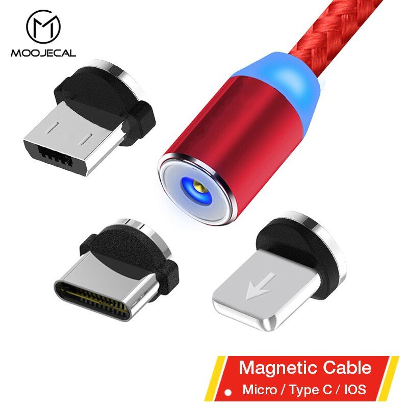 MOOJECAL Magnetic Cable For iPhone XR XS Max Mobile Phone USB Magnetic Charger Charging Cable USB Micro Type C Cable For Samsung