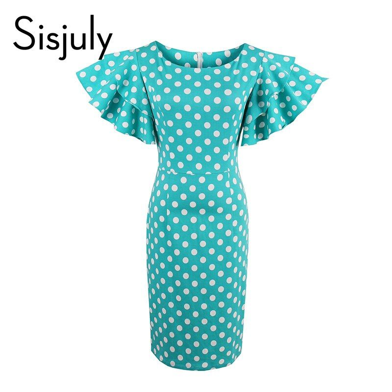 Sisjuly Polka Dot Pétale Manches Vintage Robe Moulante Femmes Zipper Gaine Pin Up Femelle Bleu Col Rond Mince Sexy Partie robes