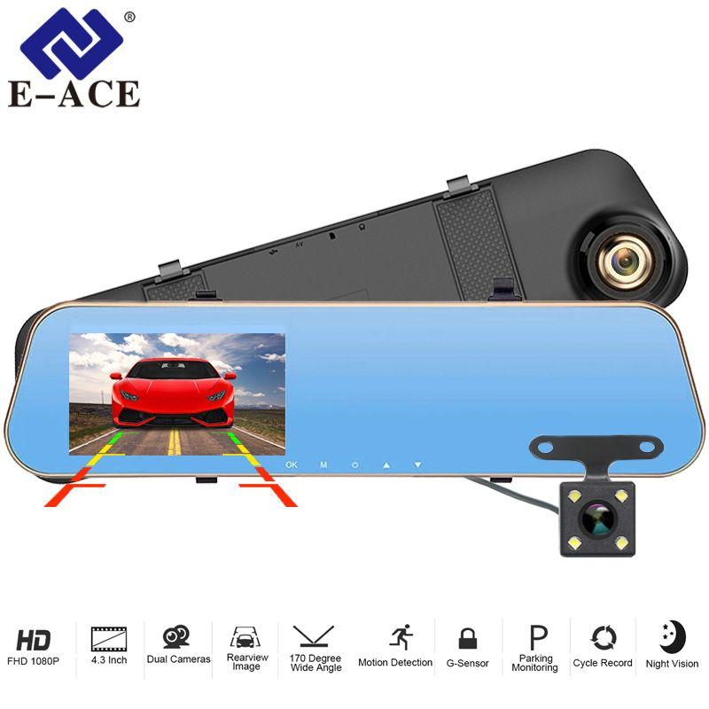 E-ACE Car Dvr Dash Camera 4.3 Inch Video Recorder FHD 1080P Rearview Mirror Dual Lens With Rear View Camera Auto Registrator