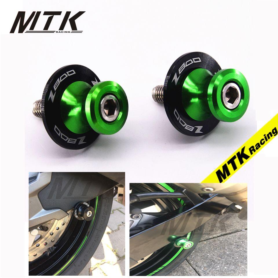 MTKRACING Motorcycle Accessories Swingarm Spools slider 8mm stand screws LOGO Z800 For KAWASAKI Z800 2012-2016