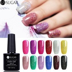 UR Gula Pelangi Hologram Gel Nail Polish 7.5 Ml Shimmer Neon Glitter Uv Gel Varnish Semi Permanen Rendam Off UV gel Lacquer