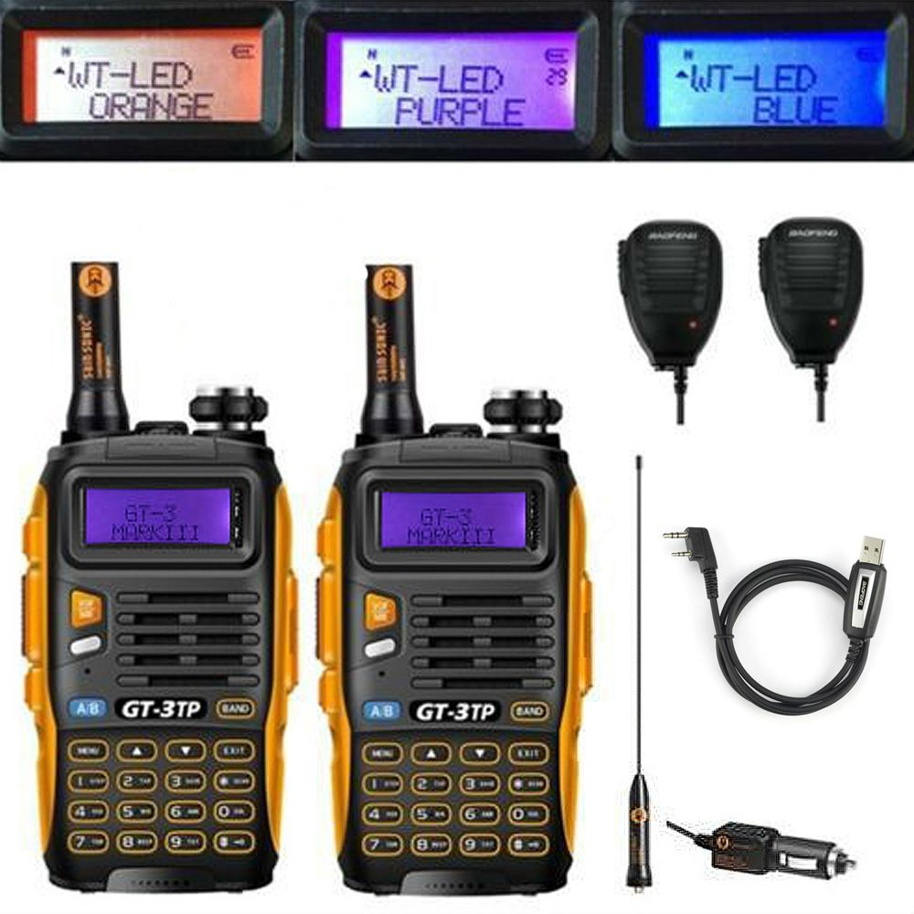 2 pièces Baofeng GT-3TP MarkIII VHF/UHF Tri puissance double bande jambon longue portée talkie-walkie Radio bidirectionnelle avec 2x haut-parleur 1x câble FM