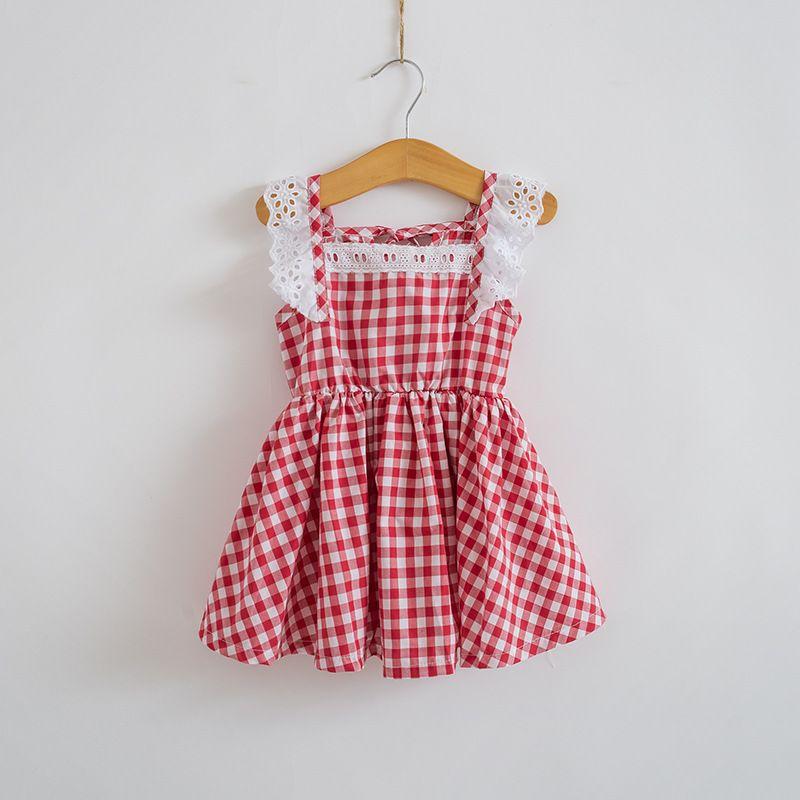 2018 Été Nouveau Bébé Fille Dentelle Parti Manches Robe Enfants Princesse Robes 2-10Y Filles Robe Enfants Vêtements Bleu Rouge