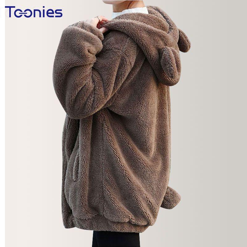 2018 Women Hoodie Hooded Outwear <font><b>Cashmere</b></font> Hoody Hoodies Coats Winter Loose Fluffy Bear Ear Cartoon Cute Thick Warm Sweatshirts