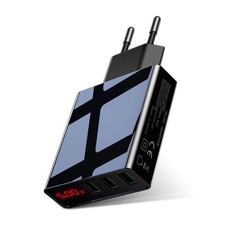 LED Display EU US 3 Port USB Charger 3A Mobile Phone USB Charger Fast Charging Wall Charger For iPhone 6 Samsung Xiaomi LG