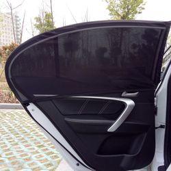 2 Pcs De Voiture Fenêtre Cover Parasol Rideau UV Protection Bouclier Pare-Soleil Maille Solaire Moustique Protection Contre La Poussière
