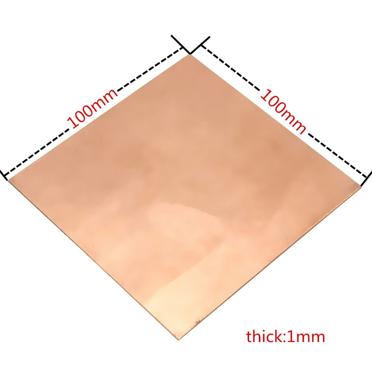 2017 Brand New 99.9% Pure Copper Cu Metal Guillotine Cut Sheet Plate 1mm*100mm*100mm Safe Using Wholesale price