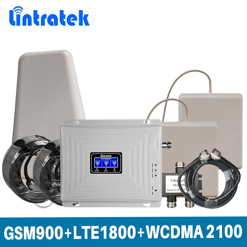 Lintratek Tri Band 2G 3G 4G for GSM 900+LTE 1800+WCDMA 2100 MHz Mobile Signal Booster Amplifier full Set with 2 indoor Antenna