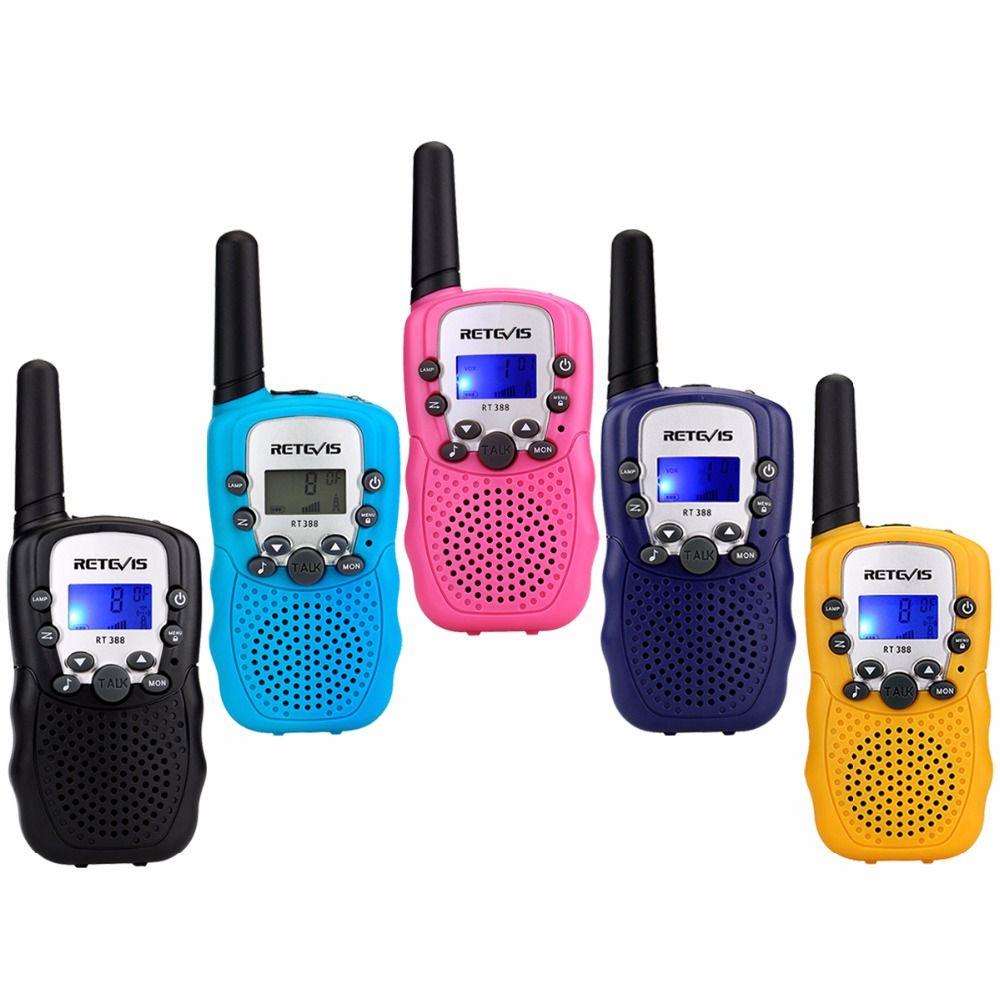 2pcs Mini Toy Walkie Talkie Retevis RT388 UHF 446MHz 0.5W 8CH Kids Children LCD Display Flashlight cb Radio VOX A7027