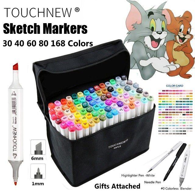 TOUCHNEW 30 40 60 80 168 couleur Art marqueur stylo artiste double tête marqueurs croquis Set aquarelle pinceau stylo doublures pour dessin