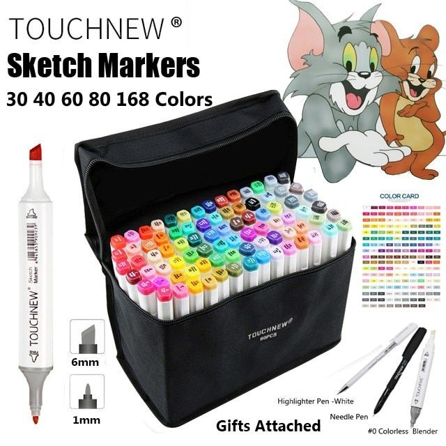 TOUCHNEW 30 40 60 80 168 Color Art Marker Pen Artist Dual Head Markers Sketch Set Watercolor Brush Pen Liners For Drawing