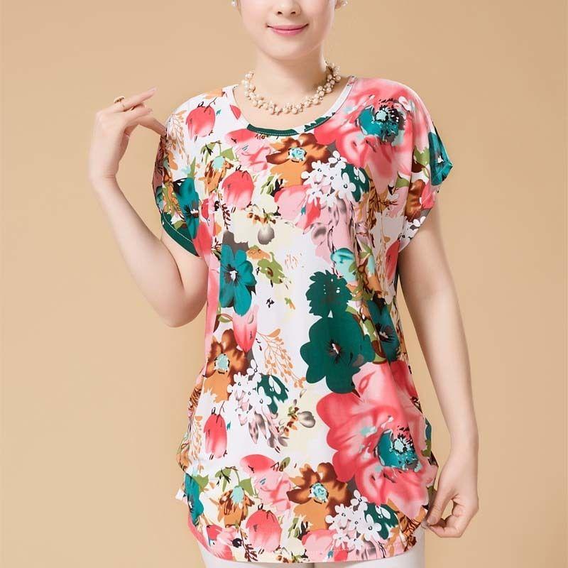 XL-5XL Women Summer Style Casual Blouses Flor Clothing Plus Size Short Sleeve Floral Blusas Shirt Women's Tops Russia 56