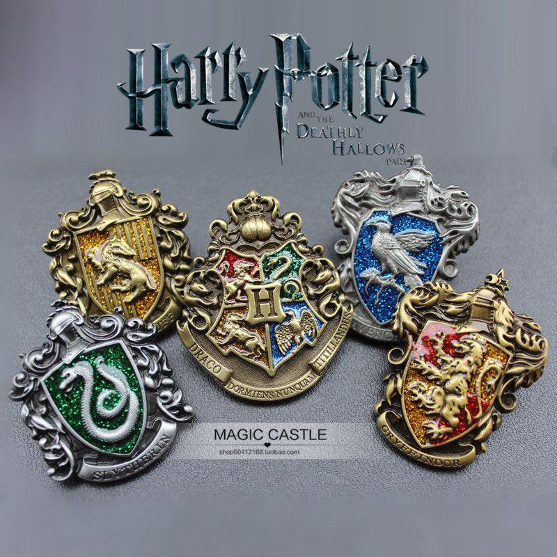 Harri Potter Hogwarts Gryffindor Slytherin Ravenclaw Hufflepuff Metall Abzeichen Brosche Brust 3D Anime Pins Cosplay Sammlung Geschenk