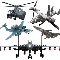 Wange Perang Moderen Kompatibel Legoed Militer Direncanakan Gunship Fighter Set Model Blok Bangunan Jets Anak Mainan Bata Teknik