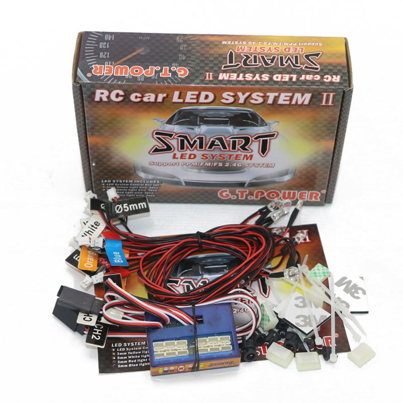 GT power RC Car lighting 12 LED Intelligent controllable linkage model lights 2 PPM FM FS 2.4G kit BRAKE + HEADLIGHT + SIGNAL