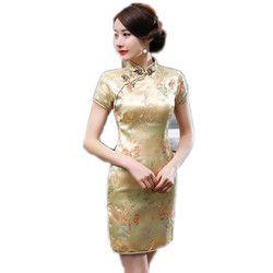 Chinois Style Or Femelle Mandarin Col Robe Vintage Satin Cheongsam Court Mini Qipao S M L XL XXL XXXL 4XL 5XL 6XL
