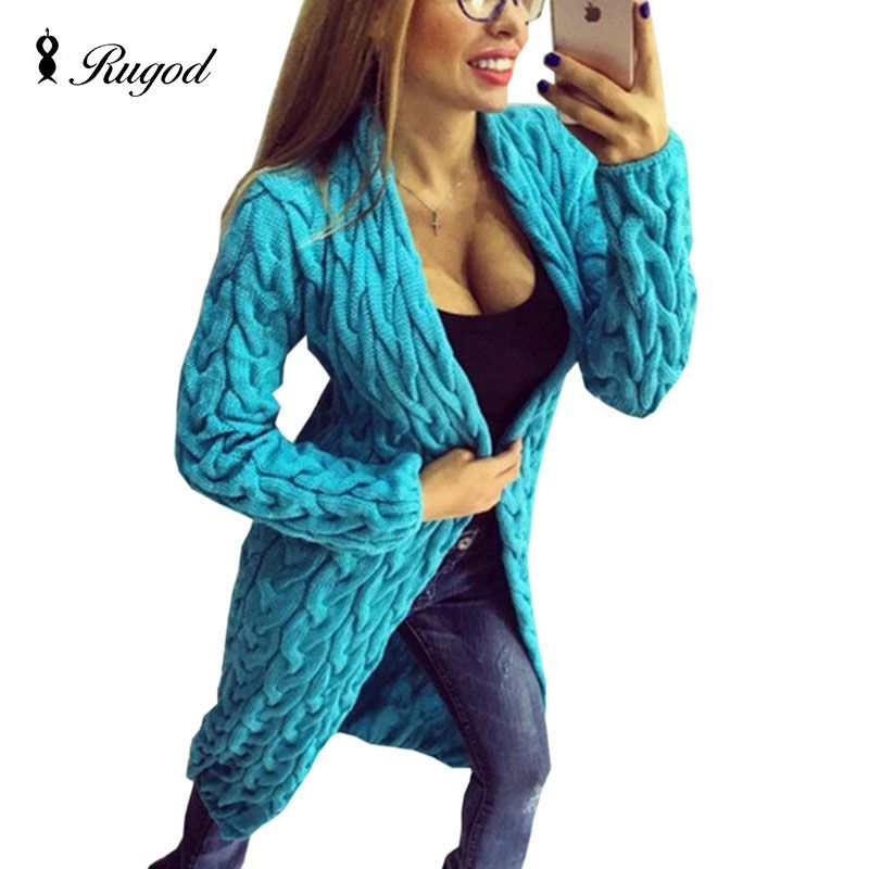2018 New Fashion Women Knitted Sweater Coat Autumn And Winter Long Sleeve Cardigan Jacket Female Casual Outwear Tops pull Femme