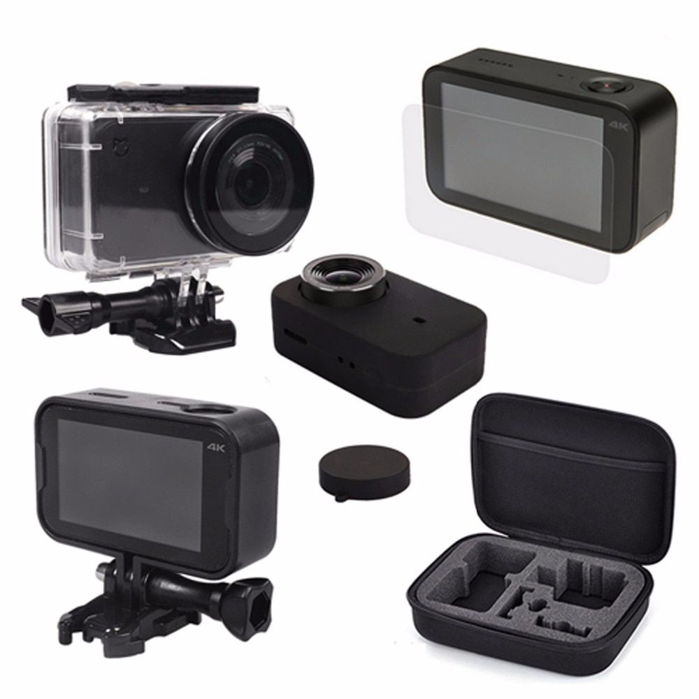 Storage bag + Waterproof Housing Case + Frame Shell Cover + Skin Case Cover + Lens Cap Protector Film for Xiaomi Mijia 4K Camera