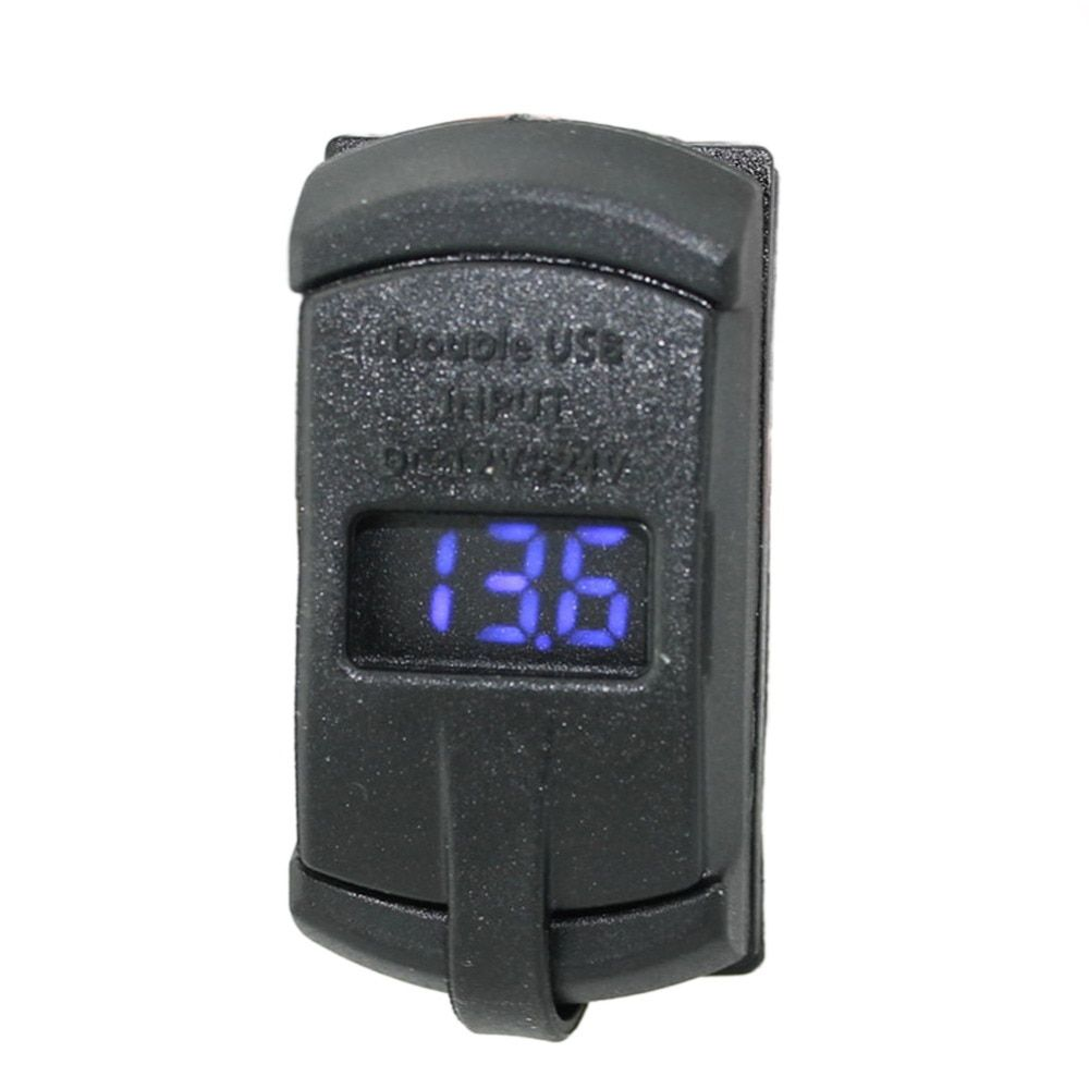 2 In 1 Rocker Style Blue LED Digital Display Voltmeter With 4.2A Dual USB Car Charger For IPhone Samsung GPS Cameras Smart Phone