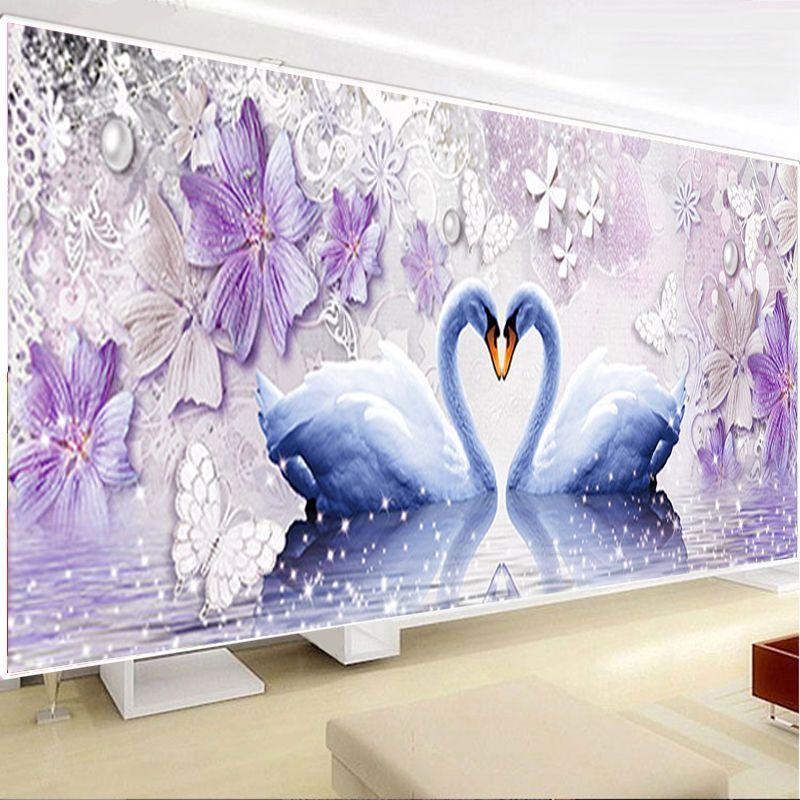 Сделай Сам алмаз 5D Вечная любовь алмазов картина Лебедь круглый Алмазная мозаика Домашний Декор бриллиантами Вышивка Свадебные