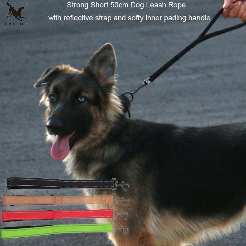 [TAILUP] kurz Hund Leinen Seil mit Griff Fuß 50 cm Hundeleine Ausbildung Seil mit Reflektierende Streifen Big Dog Kurz Seil CL106