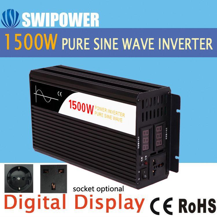 1500W pure sine wave solar power inverter DC 12V 24V 48V to AC 110V 220V