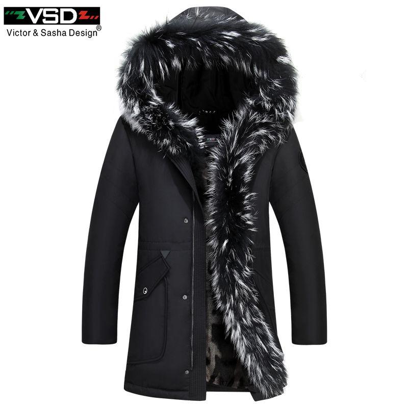 VSD 90% Winter Paar Modelle Unten Jacke Dicke Warme Lange Waschbären Pelz Kragen Mantel männer Baumwolle liner Gefüllt Weiß ente Parkas 896