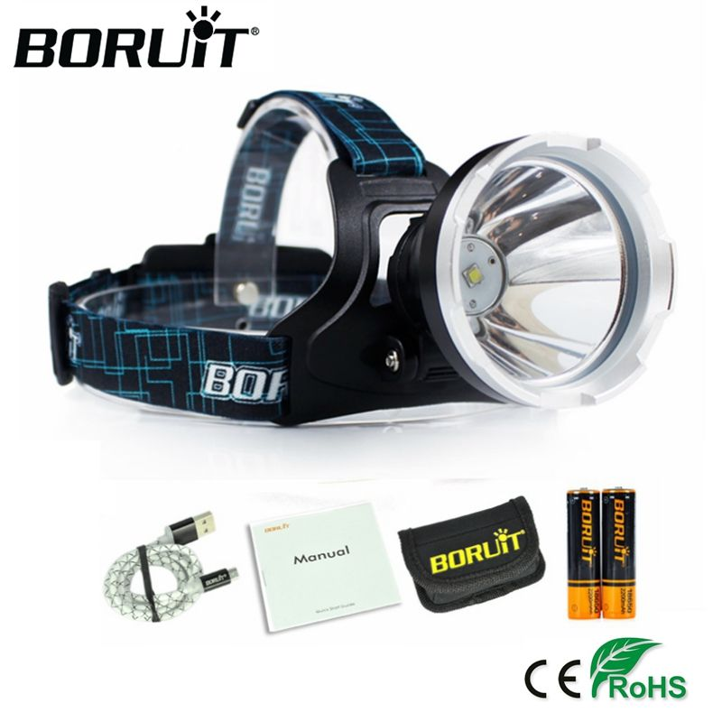 <font><b>BORUIT</b></font> B10 XM-L2 LED Headlamp 3-Mode 3800LM Headlight Micro USB Rechargeable Head Torch Camping Hunting Waterproof Frontal Lamp