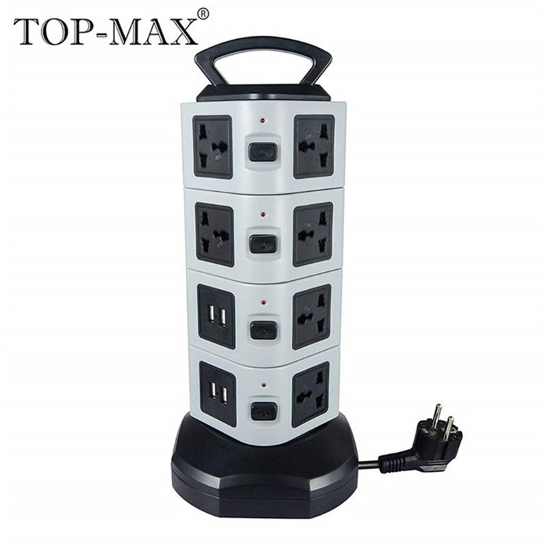 TOP-MAX 4-Layer Extension Socket 14 Outlets 4 USB Ports EU-Plug 2M Cable Vertical Socket Strip Socket With Overload Protector