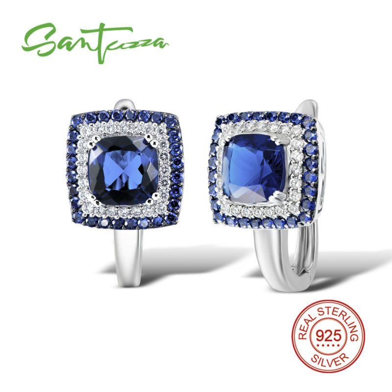 SANTUZZA boucles d'oreilles en argent pour femmes 925 boucles d'oreilles en argent Sterling 925 avec pierres zircon cubique brincos bijoux