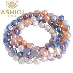 ASHIQI D'eau Douce Perle bracelets pour femmes Multi Couleur Baroque Perle Cristal Perlé Bracelets & Bangles FI bijoux cadeau