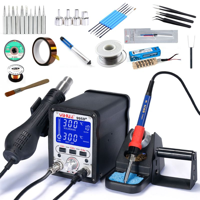 YIHUA 995D 995D+ SMD Large LCD Display Digital Soldering Station Lead Free Hot Air Gun SMD BGA Rework Station