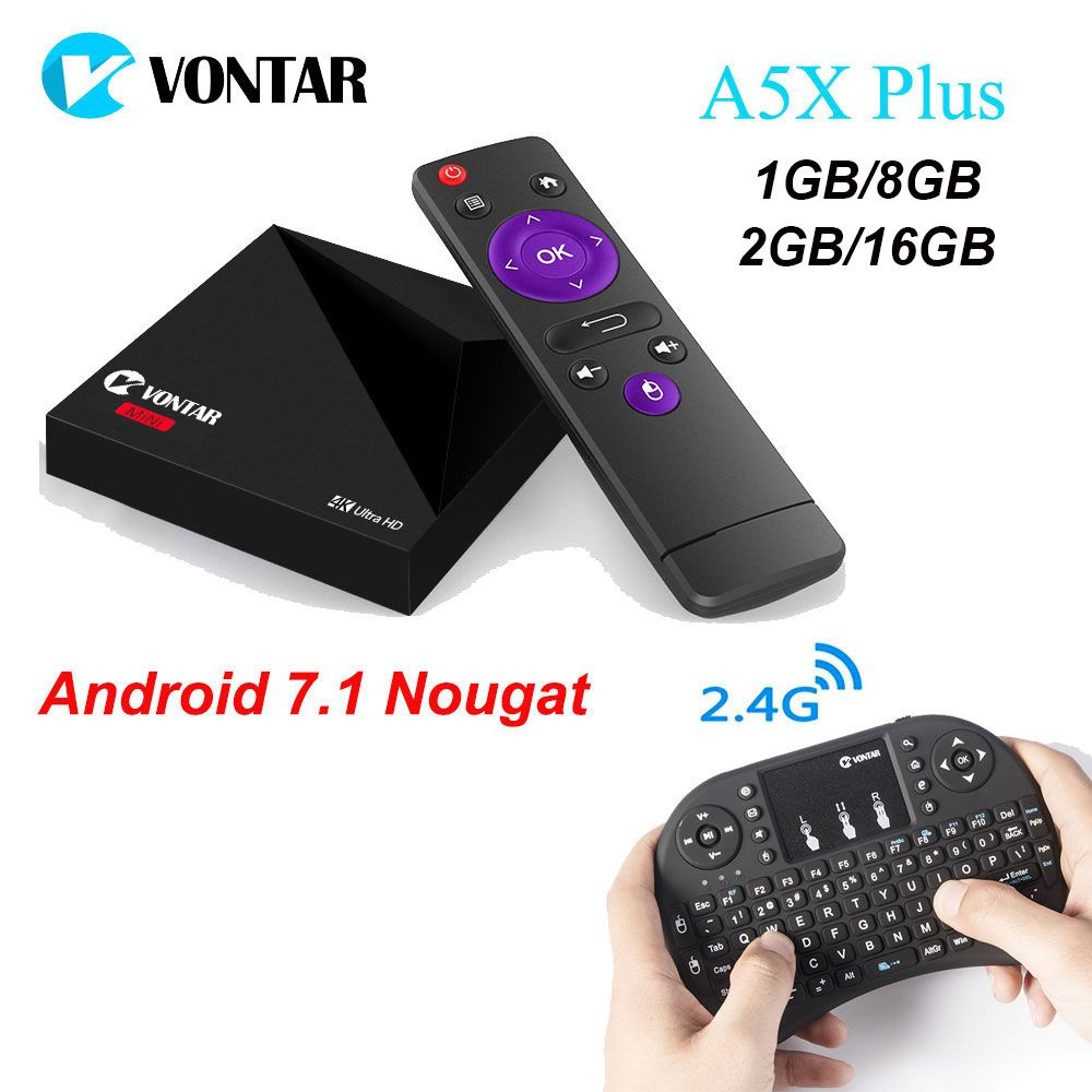 A5X Plus RK3328 Rockchip Android 7.1 TV BOX 1GB 8GB 2GB 16GB 2.4G WIFI 100M LAN USB3.0 4K H.265 pk km8 pro Z28 TV Media Player