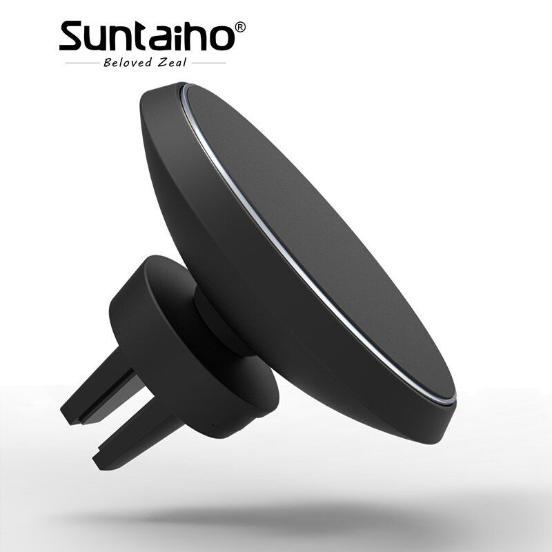 Suntaiho Qi Wireless Car Charger Magnetic Holder charger Air Vent Mount Holder Cradle for iPhone 8 X for Samsung S8 S9 Plus S7