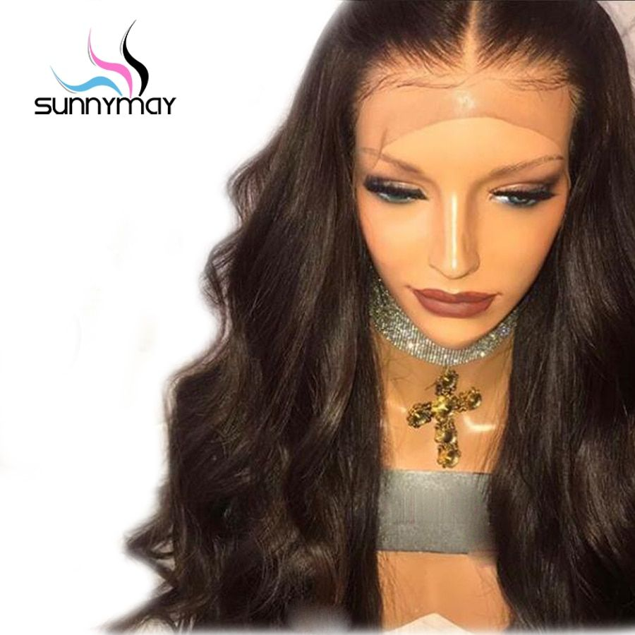 Sunnymay Brazilian Body Wave Lace Front <font><b>Human</b></font> Hair Wigs 130% Middle Part Pre Plucked <font><b>Human</b></font> Hair Lace Front Wigs For Women