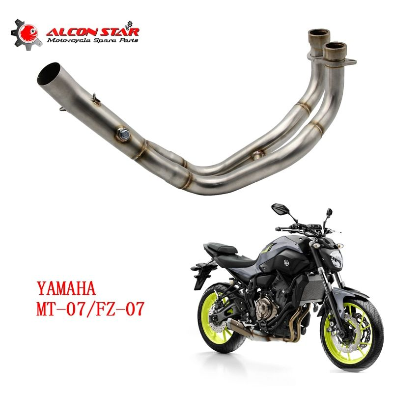 Alconstar- Motorcycle Exhaust Muffler Mid Connect Refit Motorbike Middle Pipe Exhaust Case For Yamaha MT-07 MT07 FZ-07 FZ07