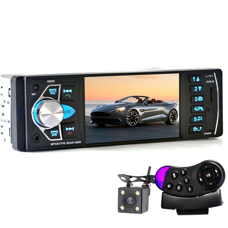 4022D 4.1'' Car MP5 Player Bluetooth TFT Screen Stereo Audio DVD FM Station Auto Video with Remote Control With Rearview Camera
