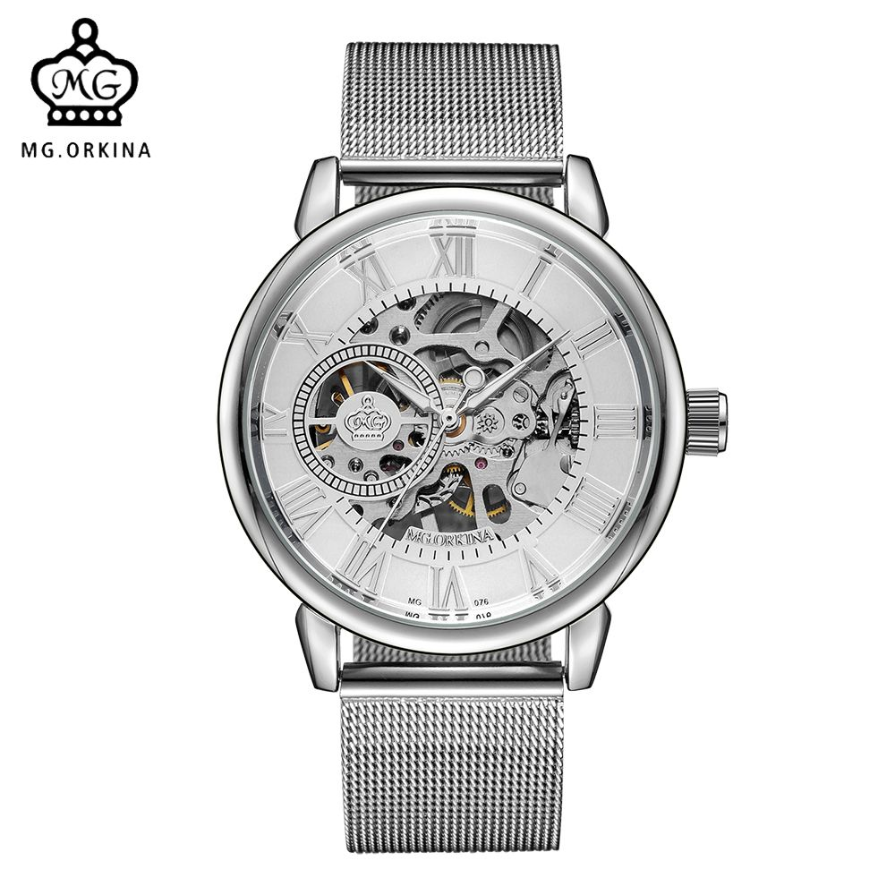 <font><b>ORKINA</b></font> Male Wristwatch Skeleton Dial Mechanical Hand-wind Clock Men's Wrist Watches Stainless Steel Mesh Band Herren Armbanduhr