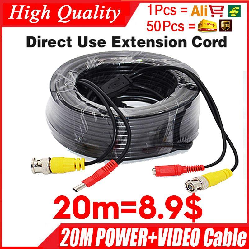 En gros 20 m vidéo + cordon d'alimentation HD cuivre caméra étendre les fils pour CCTV DVR AHD Extension d'extension avec BNC DC 2in1 deux en câble