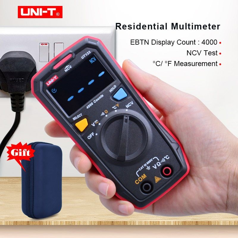 Mini multimètre numérique UT123 de UNI-T; compteur de tension cc à ca de maintien des données; testeur de température Ohm; Test NCV/continuité avec écran couleur EBTN