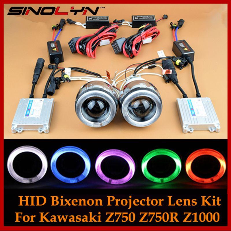 Motorcycle Headlight For Ninja 650 R 250 R/Kawasaki Z750 Z750R Z1000 Angel Devil Eyes Halo HID Bi xenon Projector Lens Lamp Kit