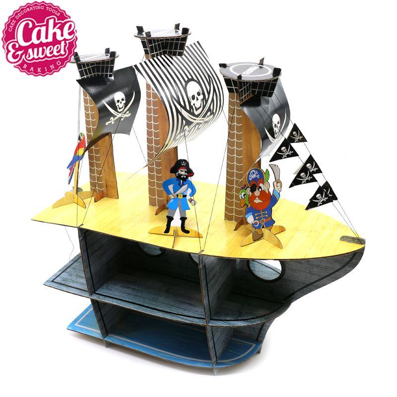 Délicat Original bateau Pirate dessin animé gâteau Rack Cupcake Stand pour gâteau fête d'anniversaire gâteau affichage décorations beau cadeau