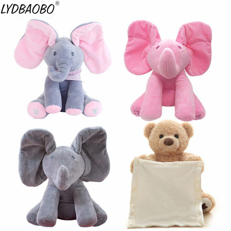 1PC 30cm Peek A Boo Elephant & Bear Stuffed Animals&Plush Doll Play Music Elephant Educational Anti-stress Toy Gift For Children