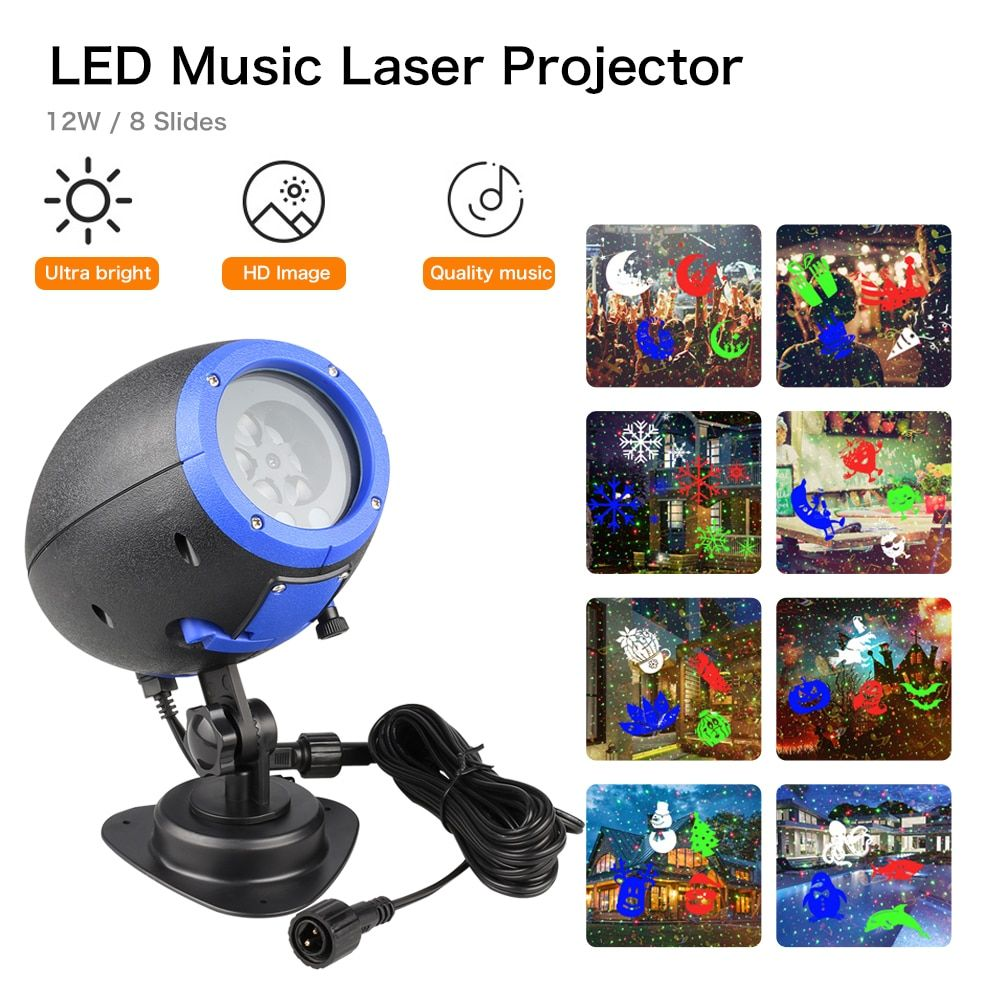 LED Speaker Music Player Laser Light IP65 Waterproof Outdoor Christmas Laser Projector Stage Light with Remote Control Lawn lamp