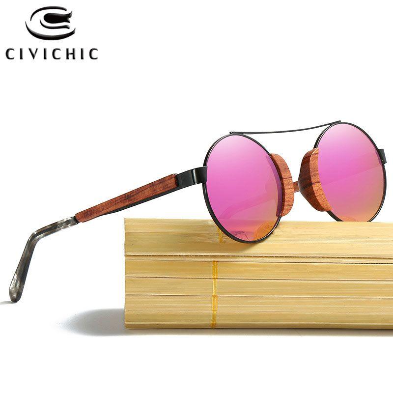 CIVICHIC Rétro En Bois lunettes de Soleil Rondes Polarisée Hommes Bambou Lunettes Femmes Marque Designer UV400 Miroir Filmé Lens Lunettes KD050