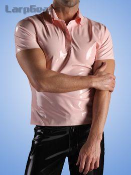 Short Sleeved Men latex Polo Shirt fashion rubber T-Shirts Fashion Tops