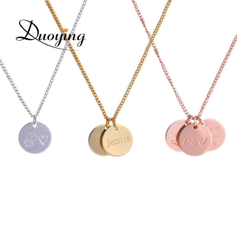 Duoying 12*12 mm Disc Necklaces Custom Baby Name Necklace Personalized drop Coin Pendants Necklaces Beauty Mother Gifts for Etsy